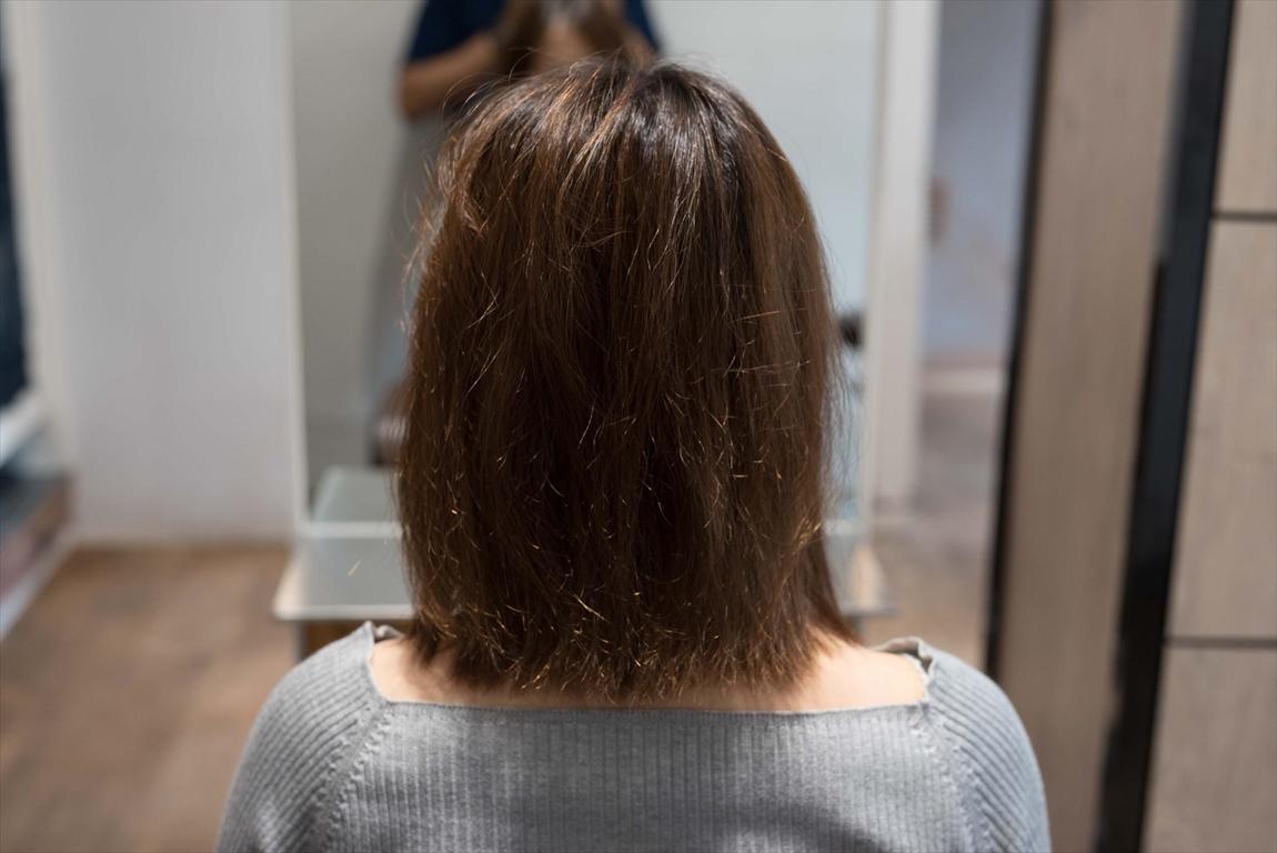 BEFORE|施術前 枝毛、アホ毛に髪質改善カット&トリートメントがおすすめ