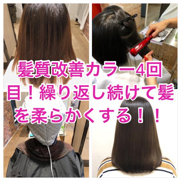 髪質改善カラー4回目!繰り返し続けて髪を柔らかくする!!
