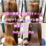 大阪の髪質改善専門サロンの多毛でうねる、広がる髪を髪質改善!!Before & After